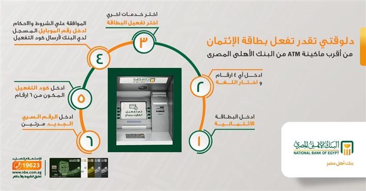 بنكي من غير ما تروح الفرع البنك الأهلي يتيح تفعيل بطاقات الائتمان عبر الـatm